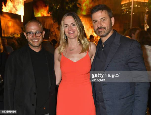 Screenwriter Damon Lindelof screenwriter Molly McNearney and TV Host Jimmy Kimmel at the Los Angeles Premiere for the seventh season of HBO's 'Game...