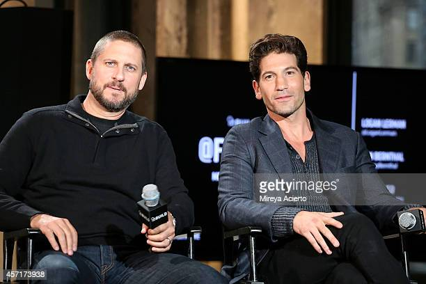Screenwriter David Ayer and actor Jonathan Bernthal attend AOL's BUILD Series Presents: Actors Logan Lerman And Jon Bernthal With Director David Aye...