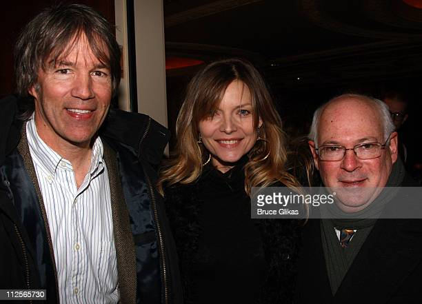 Screenwriter David E Kelley wife Michelle Pfeiffer and Director Michael Pressman arrive at the opening night for the Broadway revival of 'Come Back...