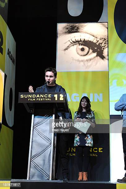 Screenwriter Derek Connolly accepts the Waldo Salt Screenwriting Award for Safety Not Guaranteed at the Awards Night Ceremony during the 2012...