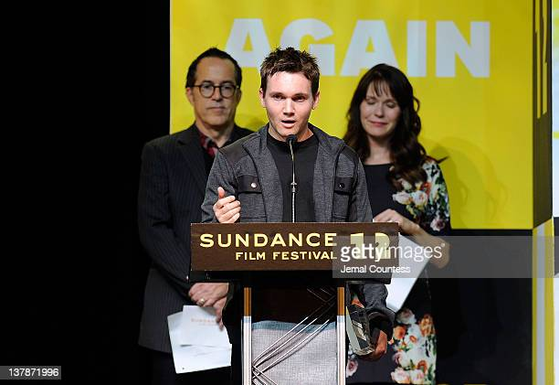 Screenwriter Derek Connolly accepts the Waldo Salt Screenwriting Award for 'Safety Not Guaranteed' onstage at the Awards Night Ceremony during the...