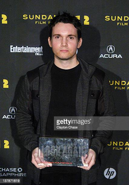 Screenwriter Derek Connolly poses with the Waldo Salt Screenwriting Award for Safety Not Guaranteed at the Awards Night Ceremony during the 2012...