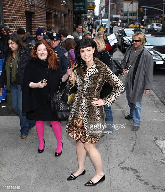 Screenwriter Diablo Cody attends Late Show with David Letterman at the Ed Sullivan Theater on January 22 2008 in New York City