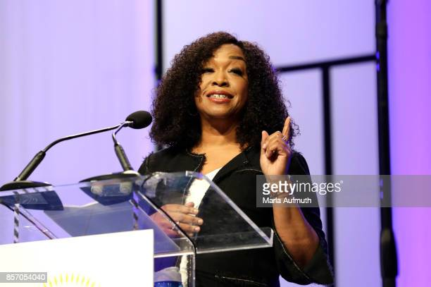 Screenwriter director and producer Shonda Rhimes speaks during Pennsylvania Conference For Women 2017 at Pennsylvania Convention Center on October 3...