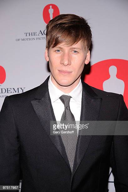 Screenwriter Dustin Lance Black attends the Academy of Motion Picture Arts Sciences New York Oscar night party at GILT at The New York Palace Hotel...