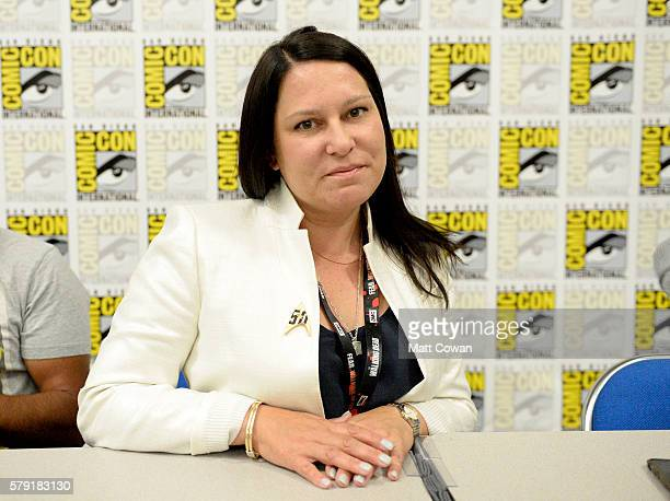 Screenwriter Elizabeth Trojian speaks onstage at the 'Science Smithsonian Star Trek' panel discussion at Marriott Marquis Marina on July 22 2016 in...