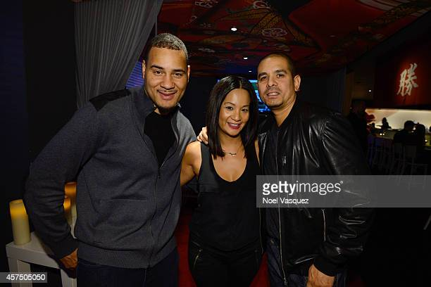 Screenwriter Erik Parker Hennessy West Coast Marketing Manager ThuyAnh J Nguyen and filmmaker One9 attend the media hour reception for Hennessy VS...