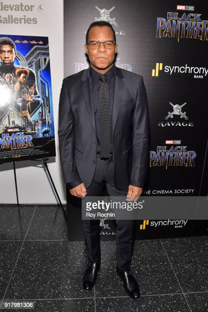 Screenwriter Geoffrey Scowcroft Fletcher attends the screening of Marvel Studios' 'Black Panther' hosted by The Cinema Society on February 13 2018 in...