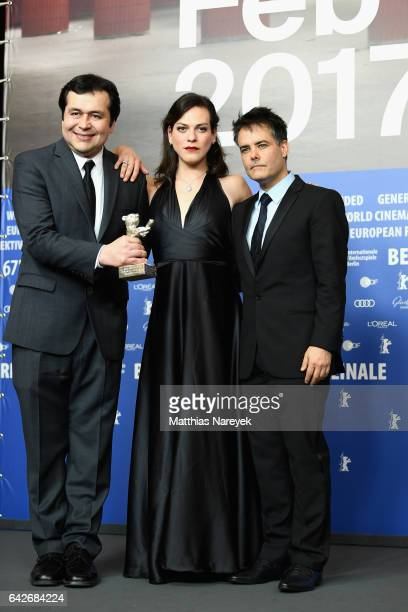 Screenwriter Gonzalo Maza actress Daniela Vega and director Sebastian Lelio winners of the Silver bear for best screenplay for their movie attend the...