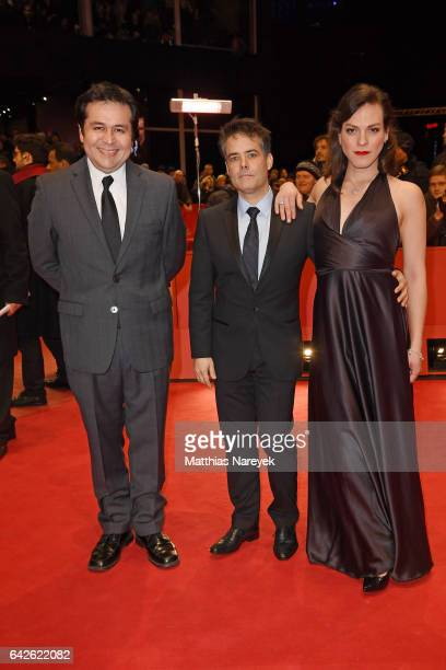 Screenwriter Gonzalo Maza director and screenwriter Sebastian Lelio and actress Daniela Vega arrive for the closing ceremony of the 67th Berlinale...