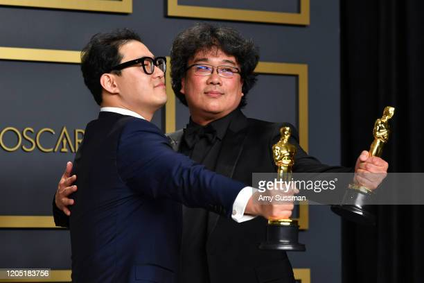 Screenwriter Han Jinwon and director Bong Joonho winners of the Original Screenplay International Feature Film Directing and Best Picture awards for...