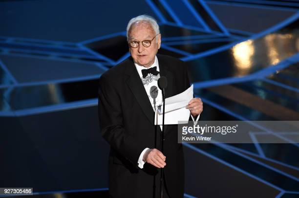 Screenwriter James Ivory accepts Best Adapted Screenplay for 'Call Me by Your Name' onstage during the 90th Annual Academy Awards at the Dolby...