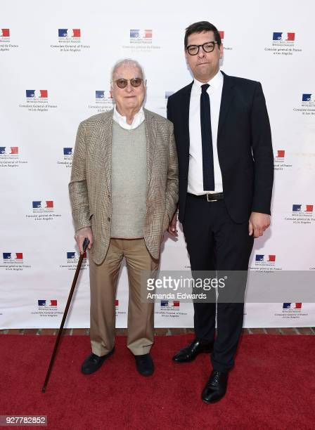 Screenwriter James Ivory and Consul General of France in Los Angeles Christophe Lemoine attend the 90th Academy Awards French Nominees Reception...