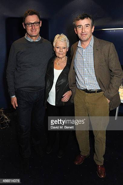 Screenwriter Jeff Pope actors Dame Judi Dench and Steve Coogan attend a private screening and QA of Philomena at Odeon West End on December 13 2013...