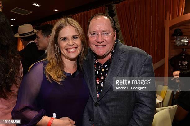 Screenwriter Jennifer Lee and John Lasseter Chief Creative Officer Walt Disney and Pixar Animation Studios attend Walt Disney Animation Studios'...