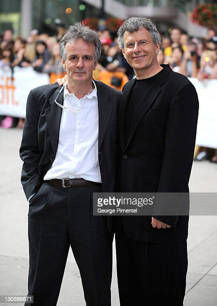 Screenwriter John Collee and director Jon Ameil arrive at the 'Creation' Premiere held at The Visa Screening Room at the Elgin Theatre during the...