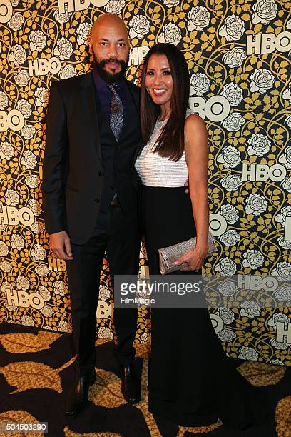 Screenwriter John Ridley and Gayle Ridley attend HBO's Official Golden Globe Awards After Party at The Beverly Hilton Hotel on January 10 2016 in...