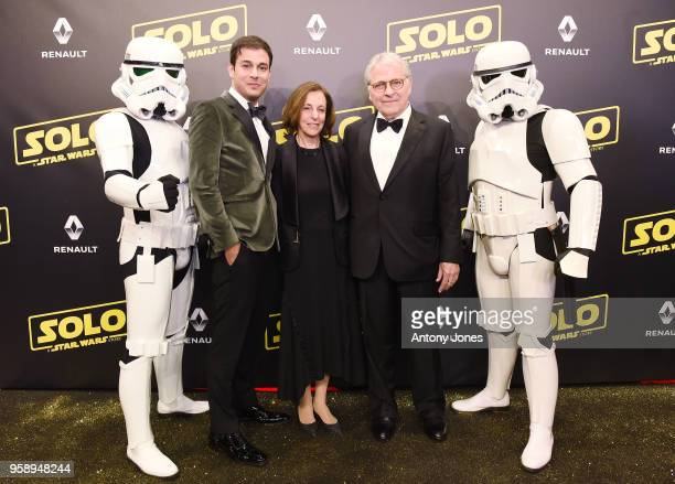 Screenwriter Jonathan Kasdan Meg Kasdan writer Lawrence Kasdan and Stormtroopers attend a 'Solo A Star Wars Story' party at the Carlton Beach...