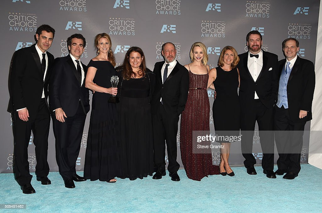 Screenwriter Josh Singer, actor Brian D'arcy James, producer Blye Pagon Faust, producer Nicole Rocklin, producer Steve Golin, actress Rachel McAdams, journalist Sacha Pfeiffer, guest and producer Tom Ortenberg pose in the press room during the 21st Annual Critics' Choice Awards at Barker Hangar on January 17, 2016 in Santa Monica, California.