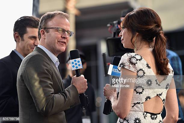 Screenwriter Josh Singer director Tom McCarthy speak with actress Illeana Douglas at 'All The President's Men' premiere during the TCM Classic Film...