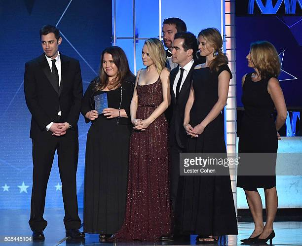 Screenwriter Josh Singer producer Nicole Rocklin actress Rachel McAdams editor Tom McArdle and producer Blye Pagon Faust accept the Best Picture...