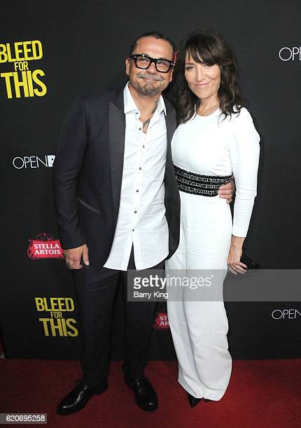 Screenwriter Kurt Sutter and actress Katey Sagal arrive at the premiere of Open Road Films' 'Bleed For This' at Samuel Goldwyn Theater on November 2...