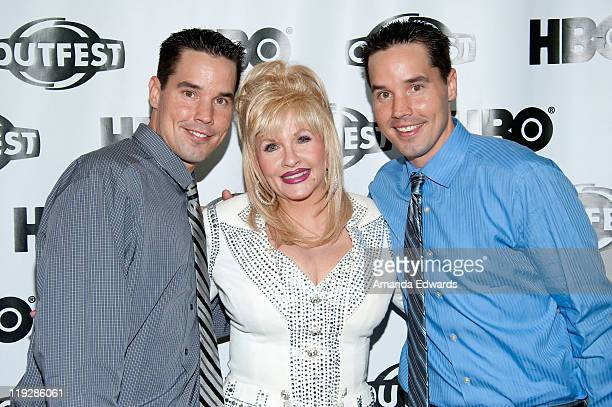 Screenwriter Larry Lane Dolly Parton impersonator Charlene Rose and screenwriter Gary Lane arrive at the 2011 Outfest screening of Hollywood to...