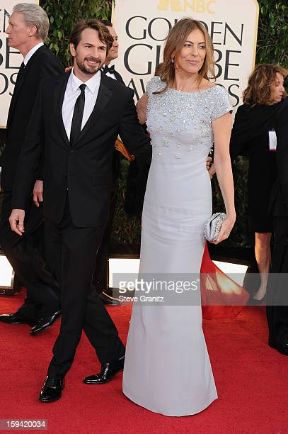 Screenwriter Mark Boal and director Kathryn Bigelow arrive at the 70th Annual Golden Globe Awards held at The Beverly Hilton Hotel on January 13 2013...