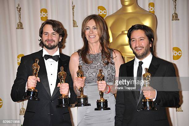 Screenwriter Mark Boal director Kathryn Bigelow and producer Greg Shapiro at the 2010 Oscars held at the Kodak Theatre in Los Angeles