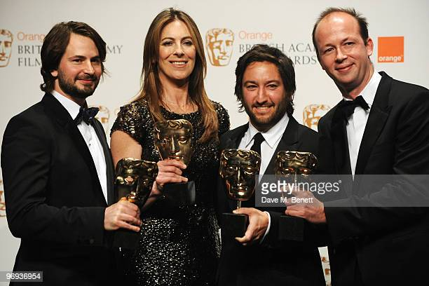 Screenwriter Mark Boal director Kathryn Bigelow producer Greg Shapiro and producer Nicholas Chartier with their awards for Best Film for 'The Hurt...