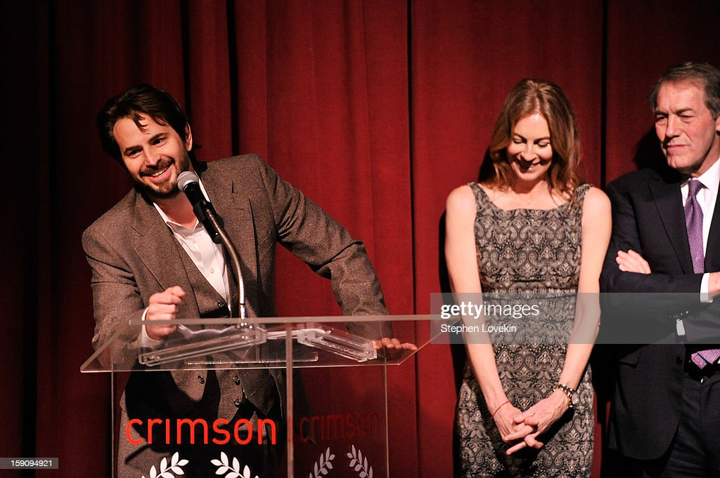 Screenwriter Mark Boal, Filmmaker Kathryn Bigelow, and journalist Charlie Rose speak onstage at the 2012 New York Film Critics Circle Awards at Crimson on January 7, 2013 in New York City.