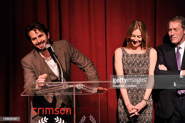 Screenwriter Mark Boal Filmmaker Kathryn Bigelow and journalist Charlie Rose speak onstage at the 2012 New York Film Critics Circle Awards at Crimson...