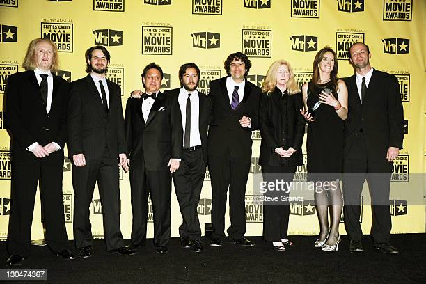 Screenwriter Mark Boal producer Greg Shapiro director Kathryn Bigelow with crew of 'The Hurt Locker' pose in the press room at the 15th annual...