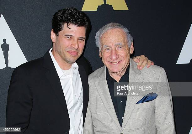 Screenwriter Max Brooks Actor/Director/Producer Mel Brooks attend the 20th anniversary screening of The Shawshank Redemption at the AMPAS Samuel...