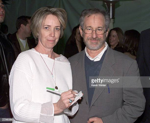 Screenwriter Melissa Mathison and Steven Spielberg at the 20th anniversary premiere of ET The ExtraTerrestrial at the Shrine Auditorium in Los...