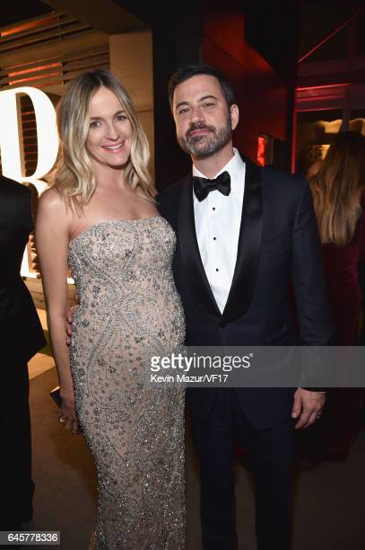 Screenwriter Molly McNearney and TV personality Jimmy Kimmel attend the 2017 Vanity Fair Oscar Party hosted by Graydon Carter at Wallis Annenberg...
