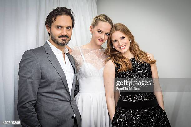Screenwriter Ned Benson with actors Jess Weixler and Jessica Chastain are photographed on May 18 2014 in Cannes France