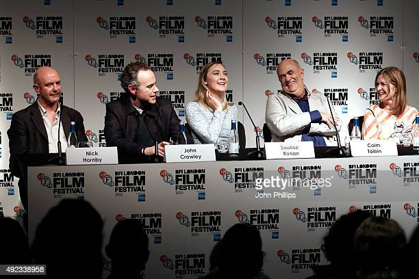Screenwriter Nick Hornby director John Crowley actress Saoirse Ronan novelist Colm Toibin and producer Finola Dwyer attend a press conference for...