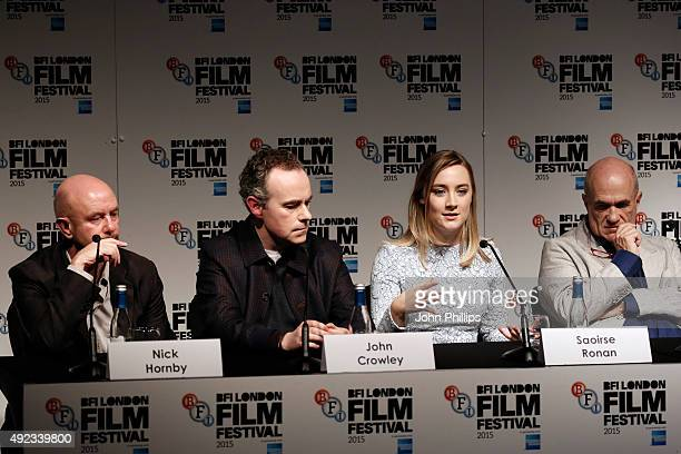 Screenwriter Nick Hornby director John Crowley actress Saoirse Ronan and novelist Colm Toibin attend a press conference for Brooklyn during the BFI...