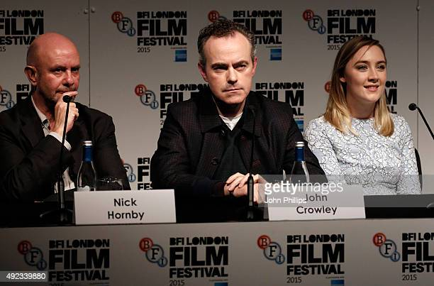 Screenwriter Nick Hornby director John Crowley and actress Saoirse Ronan attend a press conferencel for Brooklyn during the BFI London Film Festival...