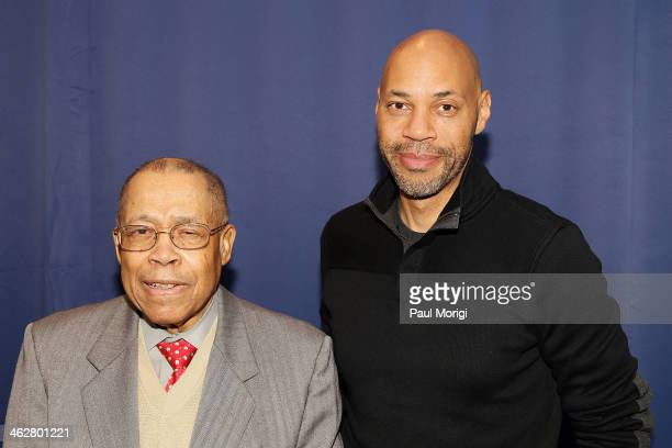 Screenwriter of '12 Years a Slave' John Ridley poses for a photo with Paul Brock Found Executive Director NABJ at the A Conversation With John Ridley...