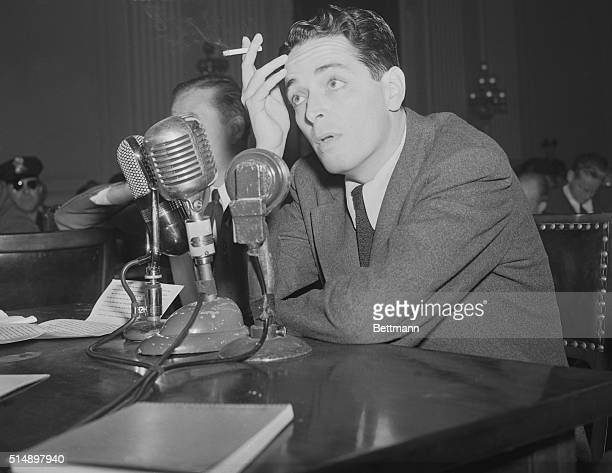 Screenwriter Ring Lardner, Jr. Testifying against charges of being a communist during a hearing of the House Un-American Activities Committee.