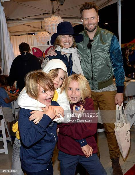 Screenwriter Sarah Williams and actor Joel McHale and Edward Roy McHale Isaac Hayden McHale and guest attend Express Yourself 2015 to benefit PS ARTS...