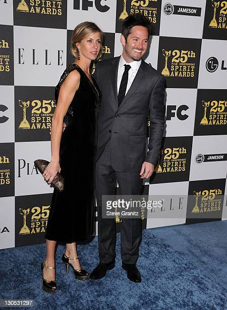 Screenwriter Scott Cooper and Jocelyne Copper arrive at the 25th Film Independent Spirit Awards held at Nokia Theatre LA Live on March 5 2010 in Los...