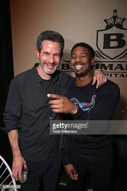 Screenwriter Simon Kinberg and actor Michael B Jordan attend Entertainment Weekly's ComicCon Bash held at Float Hard Rock Hotel San Diego on July 24...