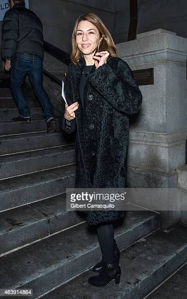 Screenwriter Sofia Coppola is seen leaving Marc Jacobs fashion show during MercedesBenz Fashion Week Fall 2015 at Park Avenue Armory on February 19...