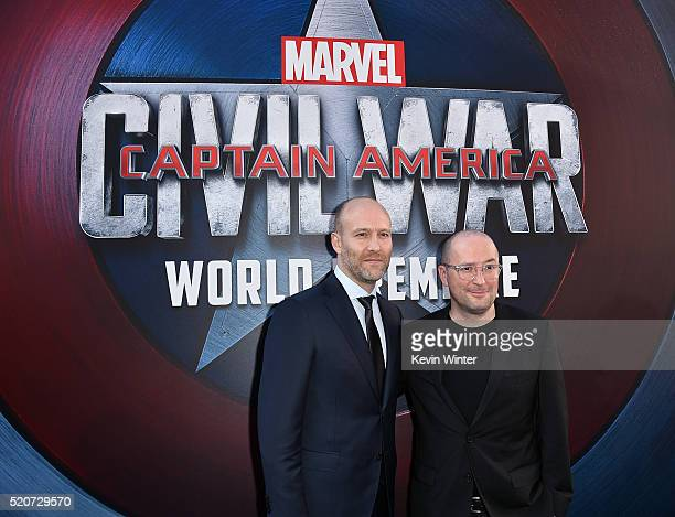Screenwriter Stephen McFeely and writer Christopher Markus attend the premiere of Marvel's Captain America Civil War at Dolby Theatre on April 12...