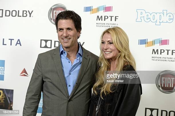 Screenwriter Steven Levitan and Krista Levitan attend Hugh Jackman One Night Only Benefiting MPTF at Dolby Theatre on October 12 2013 in Hollywood...