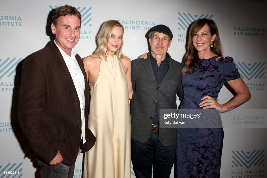 Screenwriter Steven Rogers, actress Margot Robbie, director Craig Gillespie, and actress Allison Janney pose for photos on the red carpet for a premiere of 'I, Tonya' at the Christopher B. Smith Rafael Film Center on December 2, 2017 in San Rafael, California.