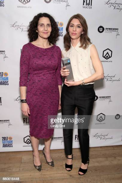 Screenwriter Tamara Jenkins and Director Sofia Coppola pose with film tribute award backstage during IFP's 27th Annual Gotham Independent Film Awards...